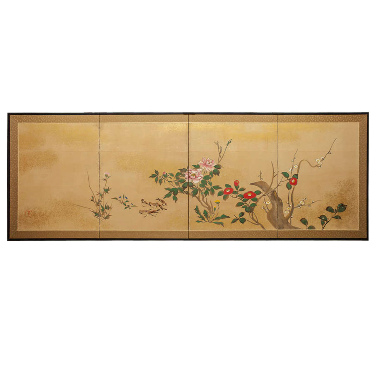 Japanese Four Panel Screen: Early Spring Into Summer