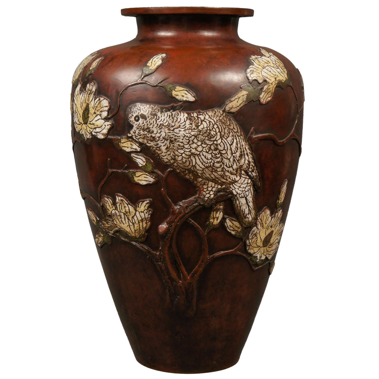 Very Large 19th Century Japanese Cloisonné Bronze Vase with Magnolias