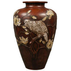 Antique Japanese Bronze Vase with Parrot