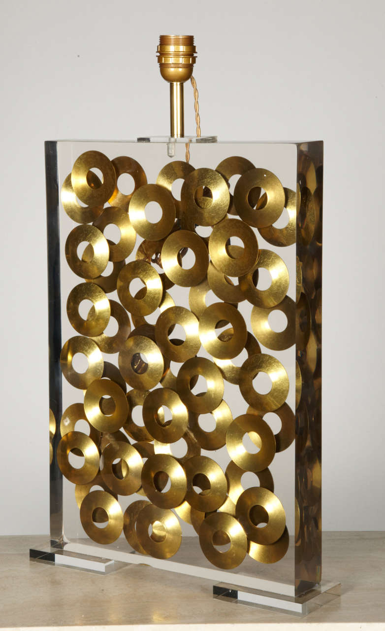 Awesome Lucite Lamp With Brass Rings Inclusion By Romeo