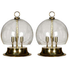 Huge Pair of Bowl Table Lamps