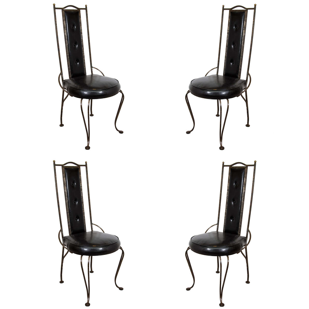 Iron Dining Chairs ~ A set of four mid century wrought iron dining chairs at