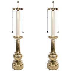 A Pair of 1970s Candlestick Table Lamps in Brass