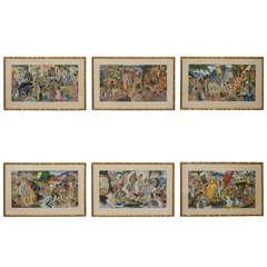Set of Six Eugene Savage Framed Menu Covers w/ Hawaiian Motif