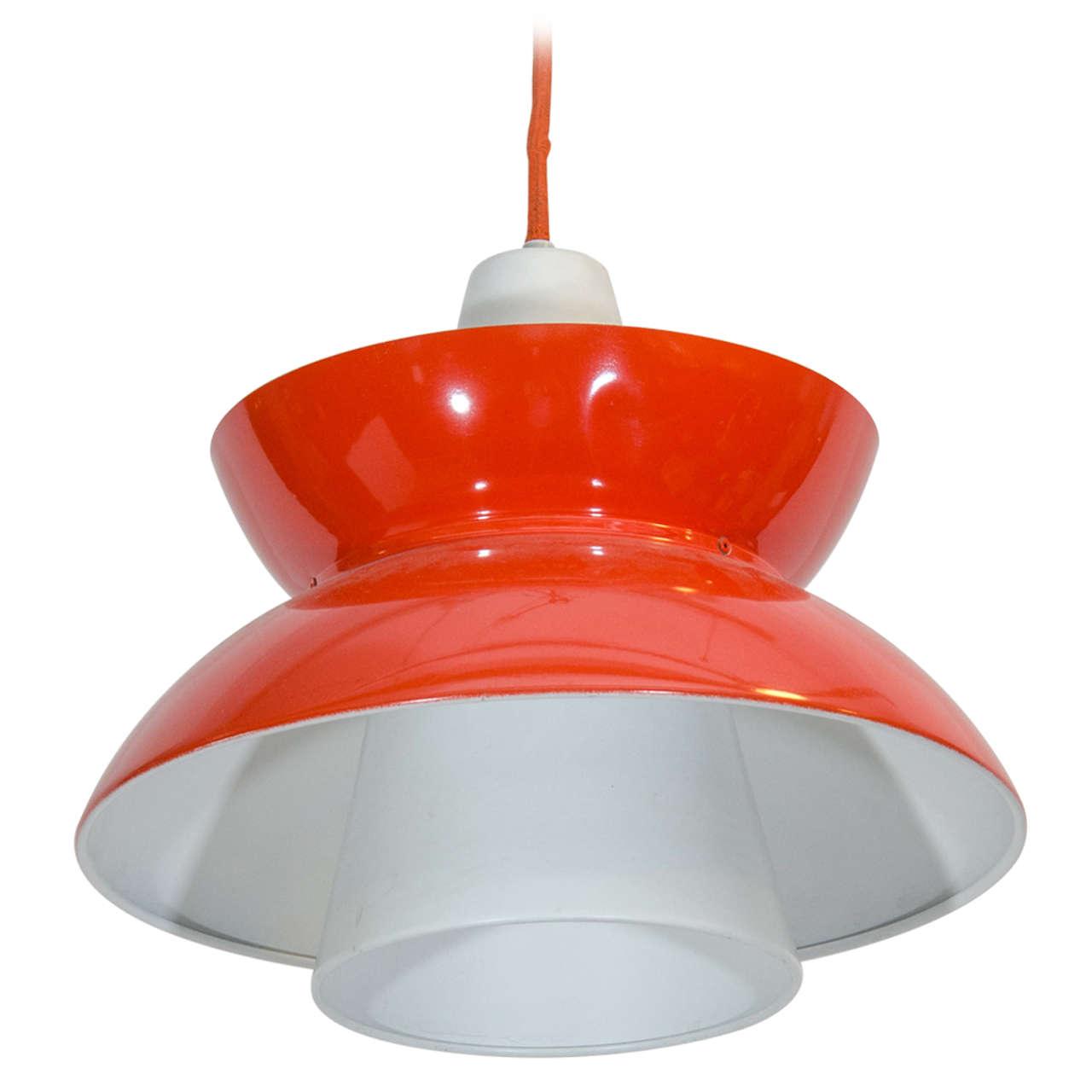 Single Red Mid Century Pendant Light By Jorn Utzon At 1stdibs