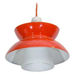 Single Red Midcentury Pendant Light by Jorn Utzon
