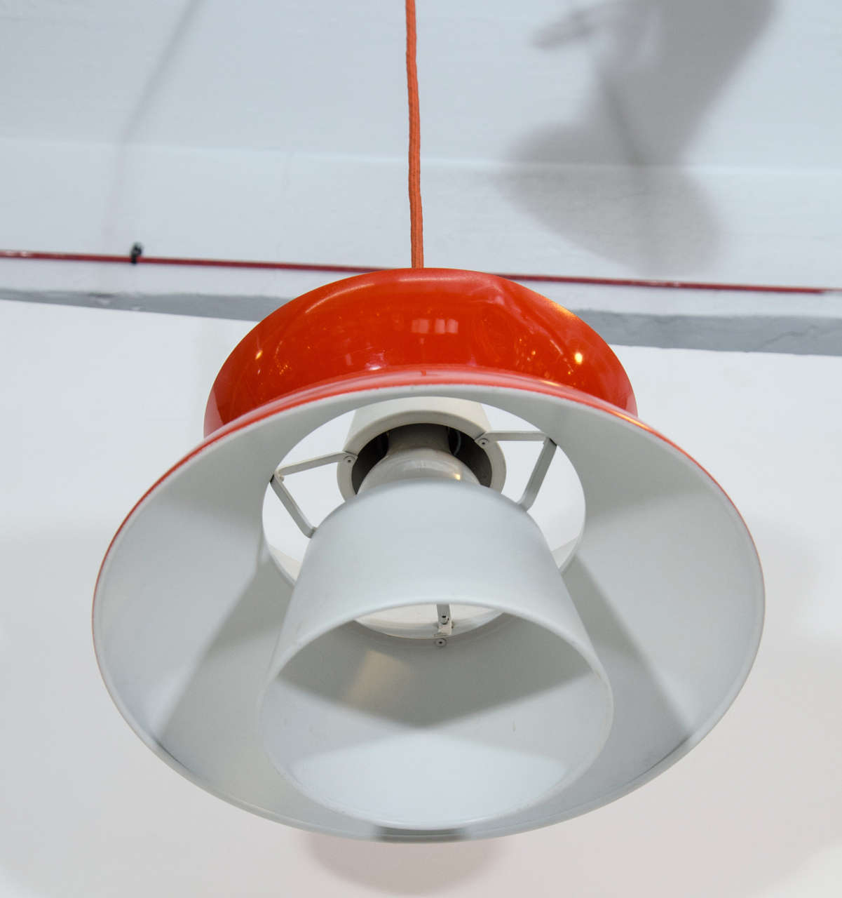 Single Red Midcentury Pendant Light By Jorn Utzon For Sale