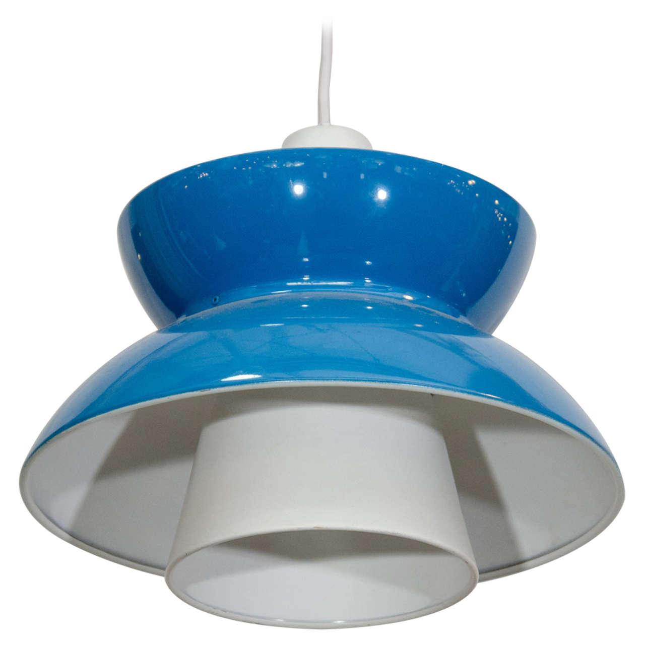 Single Blue Mid Century Pendant Light By Jorn Utzon For Sale At 1stdibs