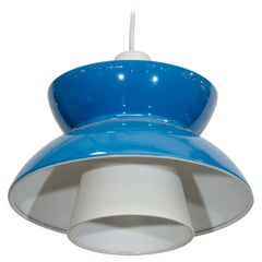 Single Blue Mid Century Pendant Light by Jorn Utzon