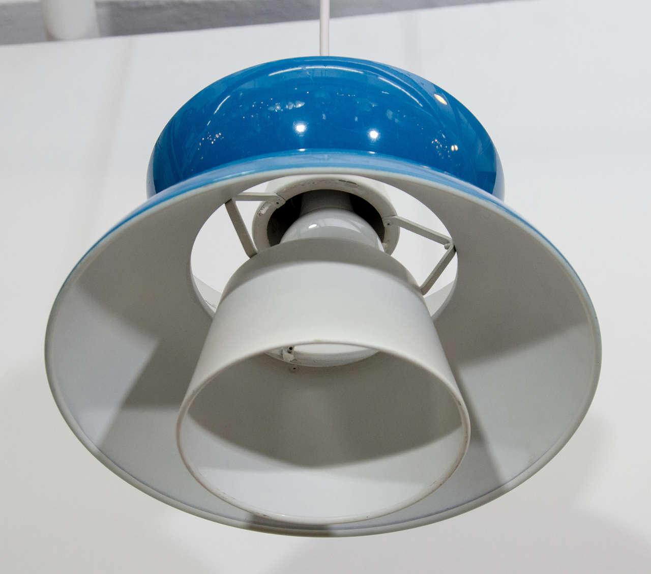 Single Blue Mid Century Pendant Light By Jorn Utzon For