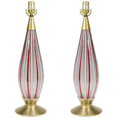 A Midcentury Pair of Red and White Striped Murano Glass Lamps