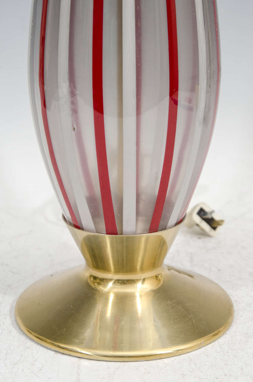 A Midcentury Pair of Red and White Striped Murano Glass Lamps 4