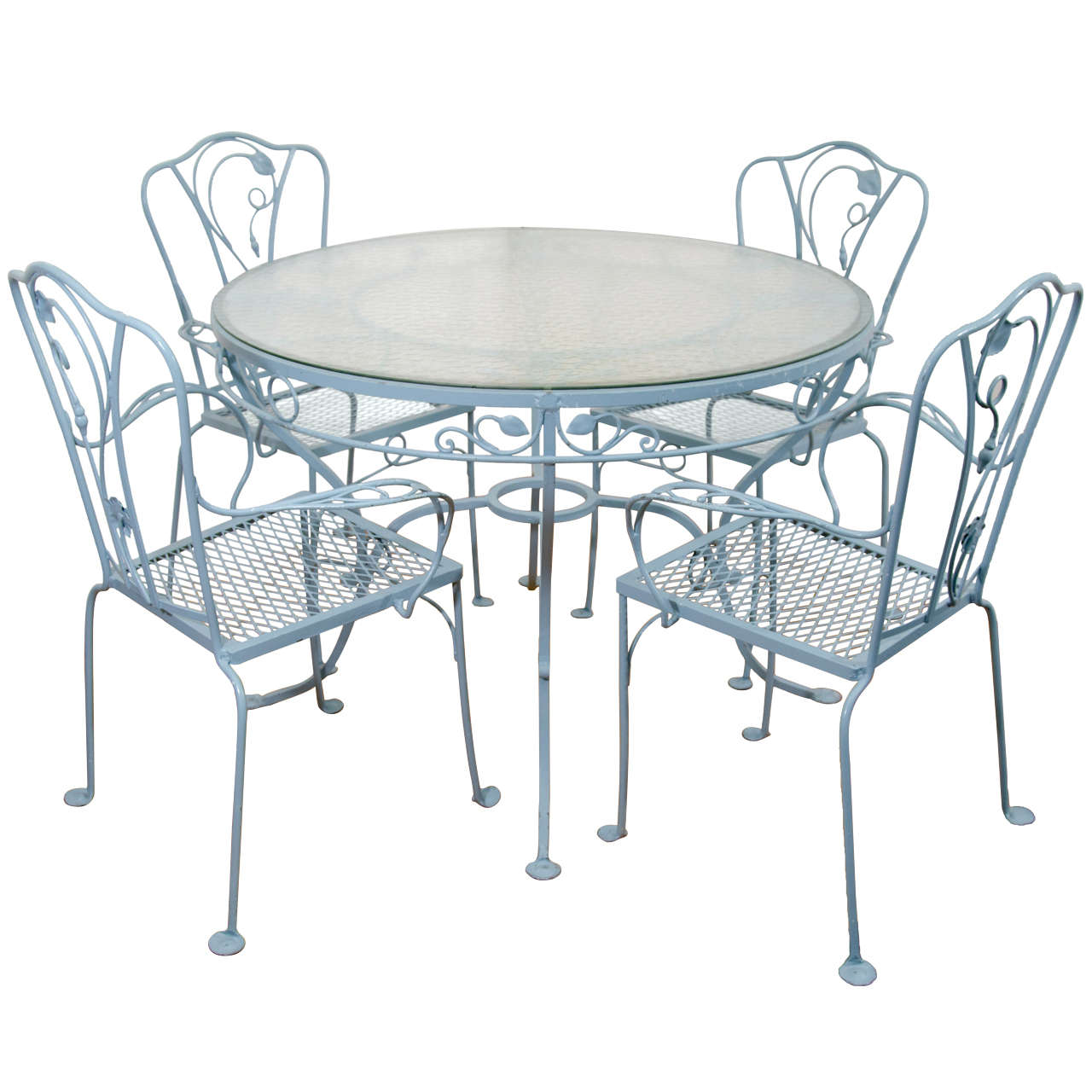 Vintage Salterini Wrought Iron Table And Chairs In Powder Blue For