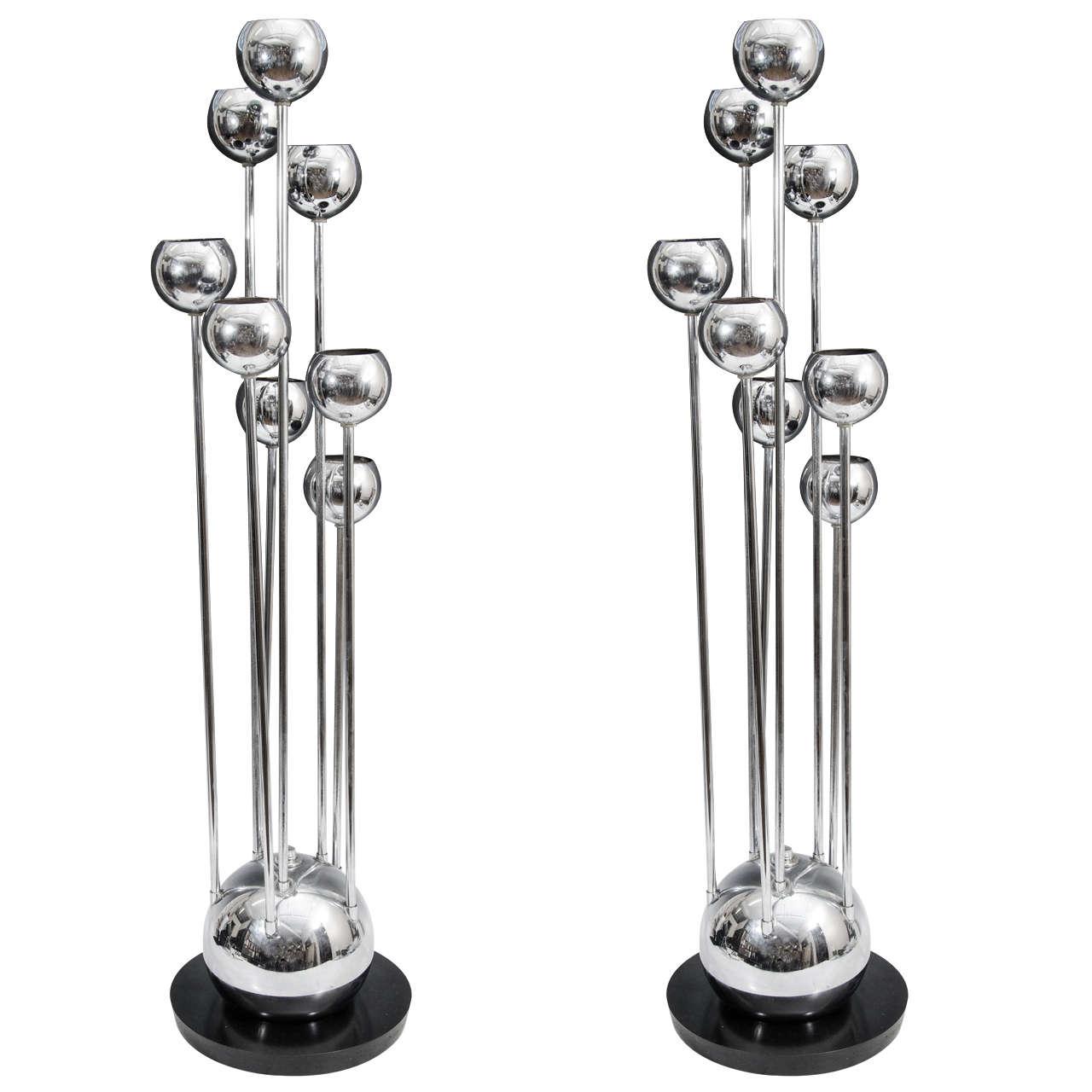 a pair of mid century chrome eight