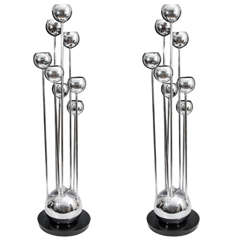 A Pair of Mid Century Chrome Eight-light Table Lamps