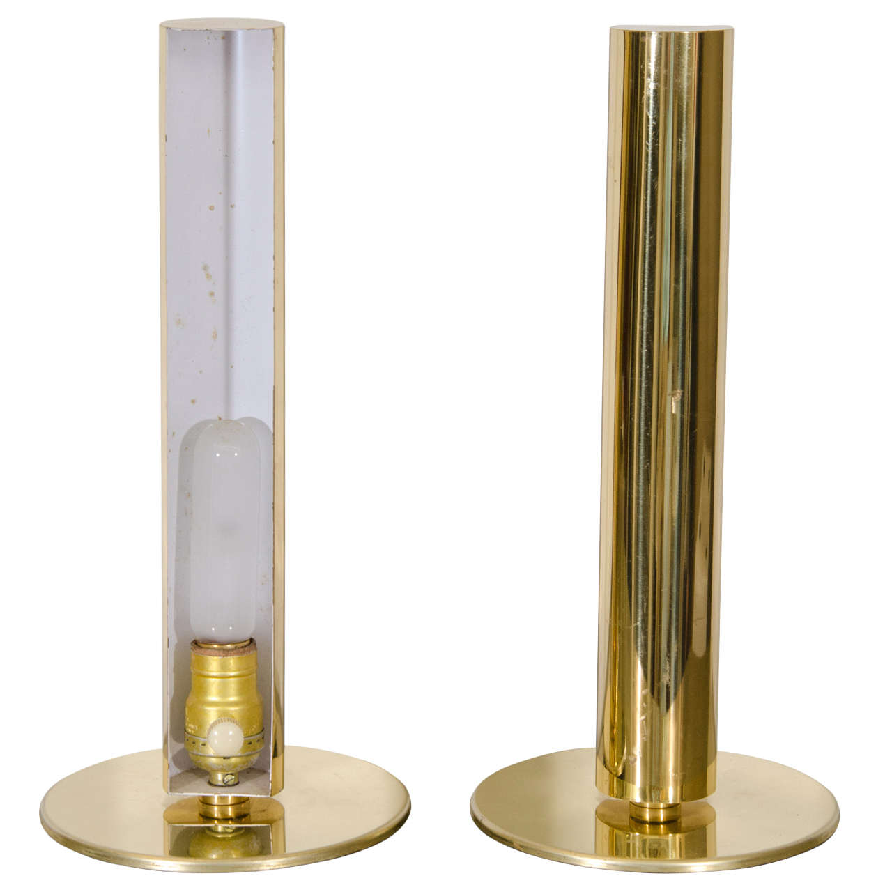 Midcentury Pair of Brass Cylinder Table Lamps by Kovacs