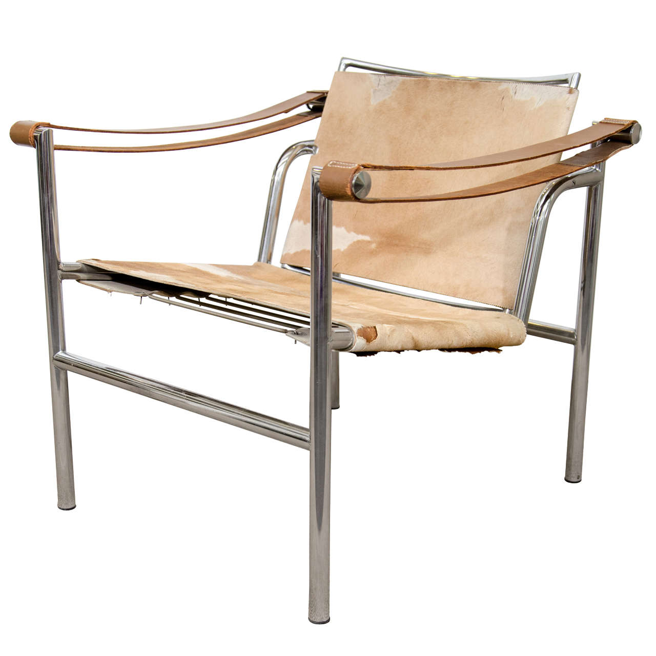 Le corbusier chair vintage - Mid Century Le Corbusier Sling Chair In Hide 1