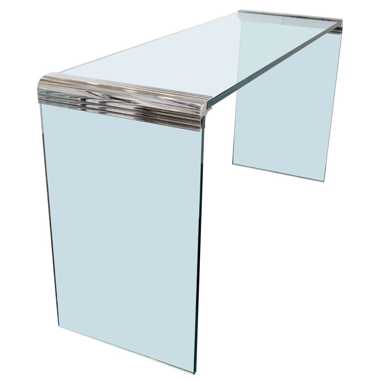 Mid century glass and chrome quot waterfall console table at