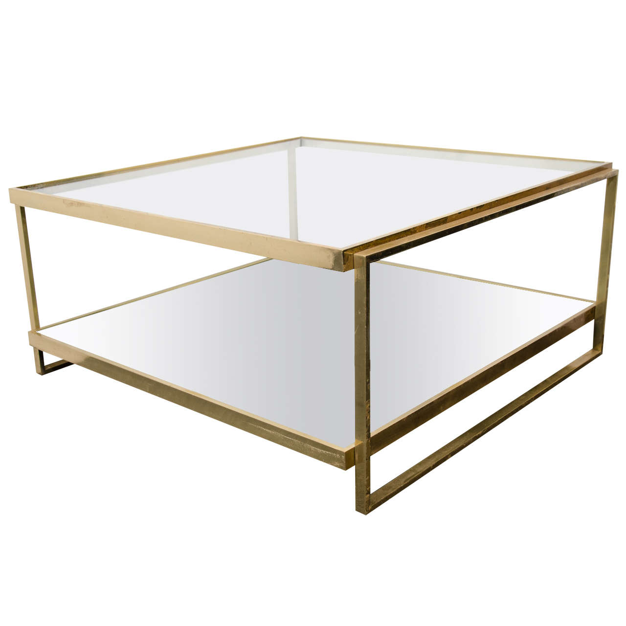 Mid Century Two Tier Coffee Table In Brass W Mirror And Glass At 1stdibs