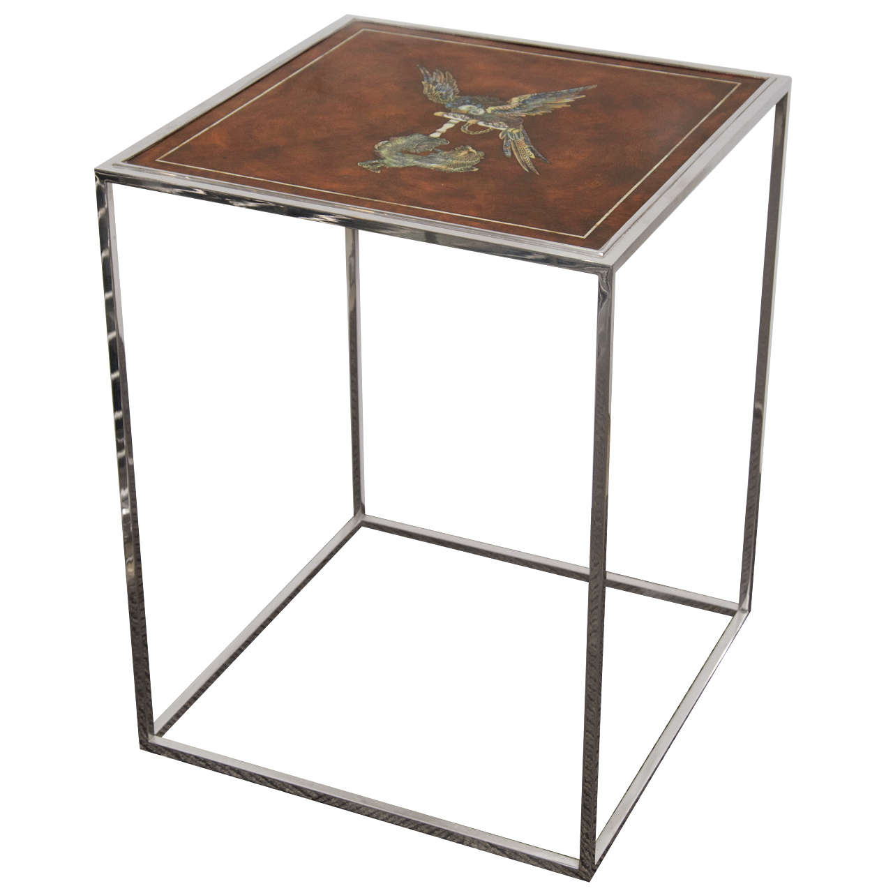 Mid-Century Side Table With Mother of Pearl Inlay
