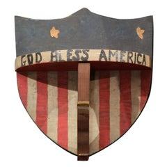 """God Bless America"" Patriotic Piece of Folk Art"
