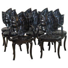 An Amazing Set of Eight Palm Leaf Chairs