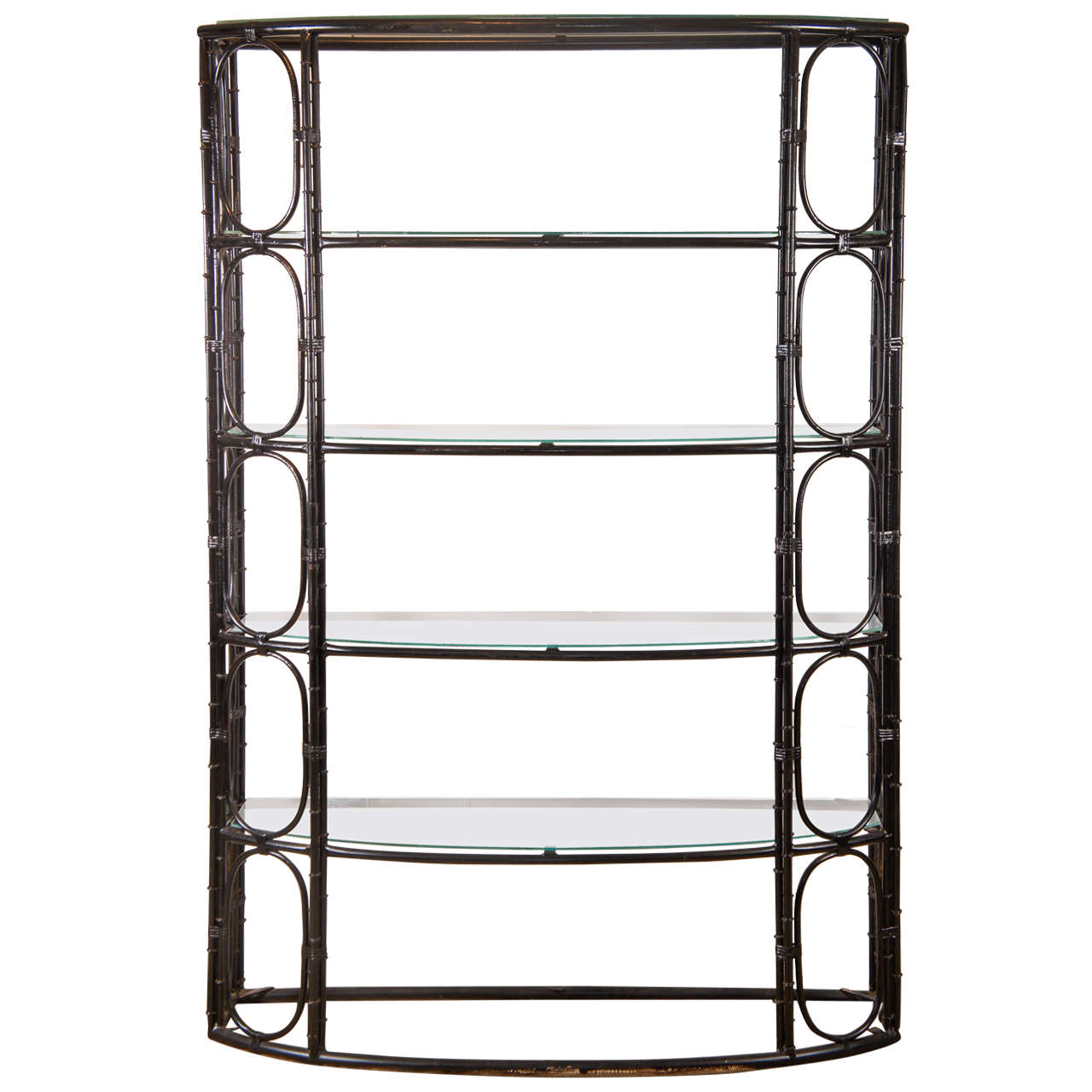 steel bamboo etagere in black for sale at 1stdibs. Black Bedroom Furniture Sets. Home Design Ideas