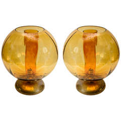 Big Pair of Orange Murano Glass and Brass Lamps
