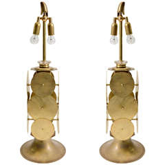 Unusual Pair of Brass and Murano Glass Lamps