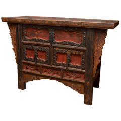 Q'ing Dynasty Shanxi Three-Drawer Lacquered Altar Coffer with Iron Trim