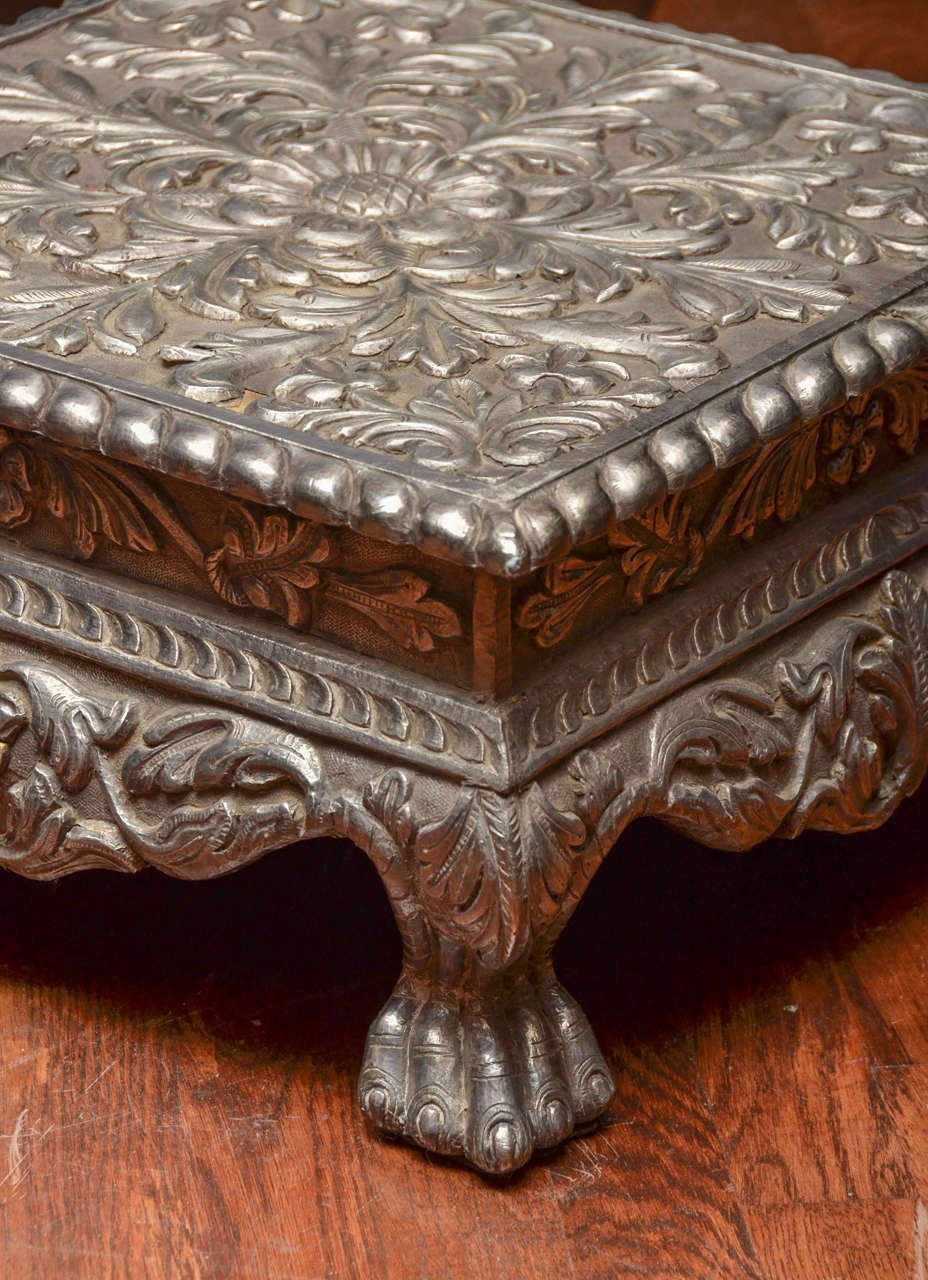 Indian Hammered Silver Prayer Table With Chippendale