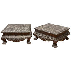 Indian Hammered Silver Prayer Table with Chippendale Inspired Feet