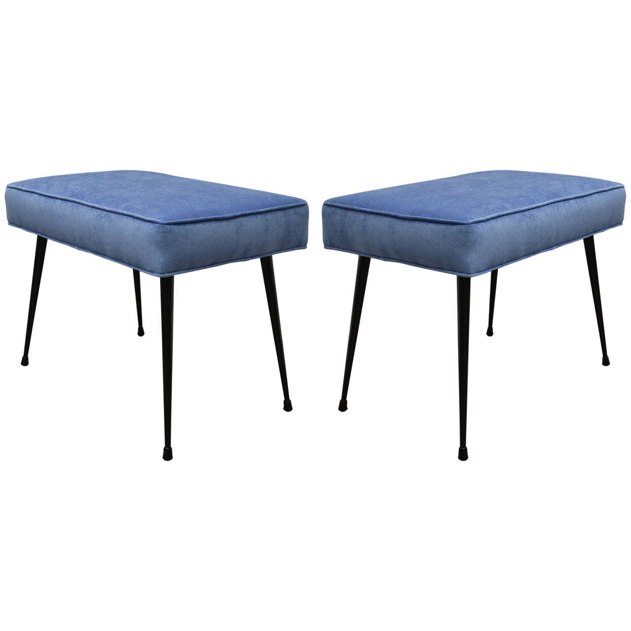 Pair Of Blue Upholstered Benches At 1stdibs