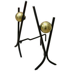 Pair of Brass Ball and Iron Andirons