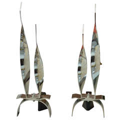 Pair of Twisted Chrome-Plated Andirons with Blackened Steel Bases