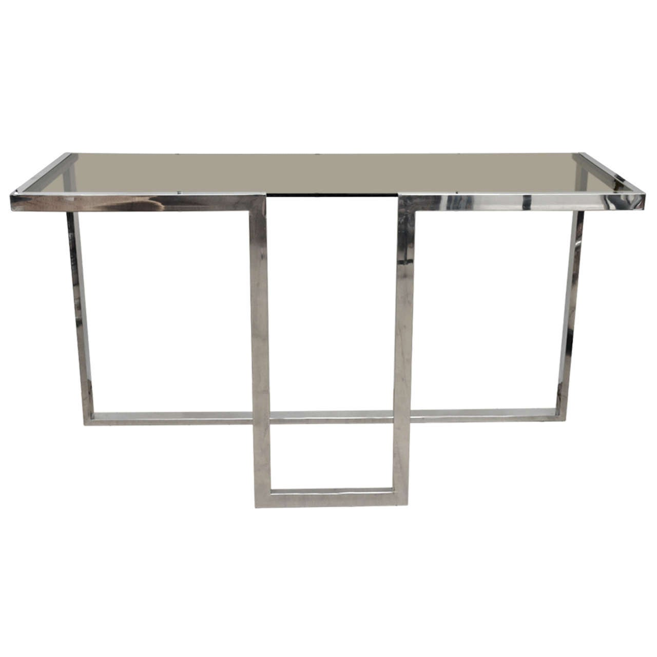 Smoked Glass Chromed Console Table At 1stdibs