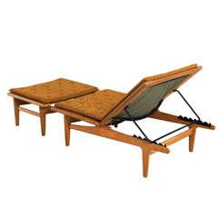 Solid Oak Hans J. Wegner Chaise Longue for Getama