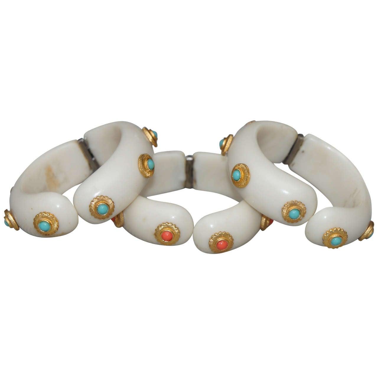 Three Hattie Carnegie Style Faux Ivory Bangle Bracelets