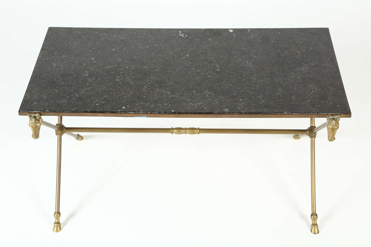 Maison Jansen Style Brass Cocktail Table With Granite Top For Sale At 1stdibs