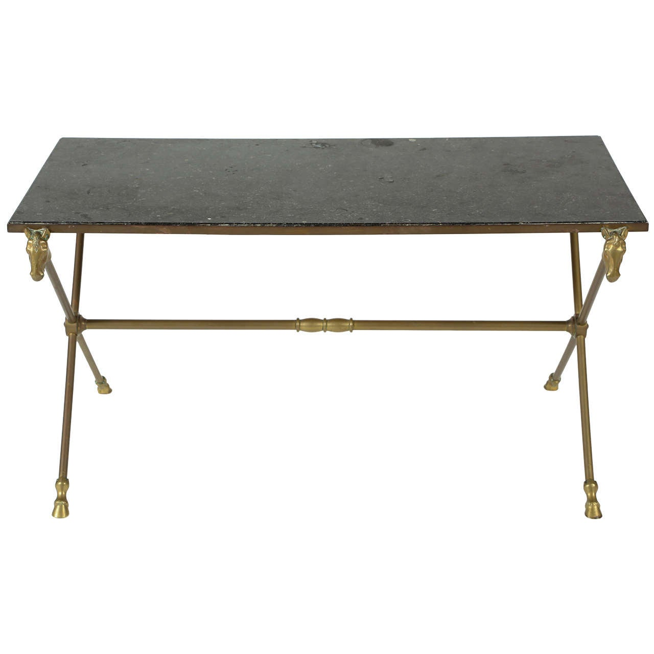 Maison Jansen Style Brass Cocktail Table With Granite Top