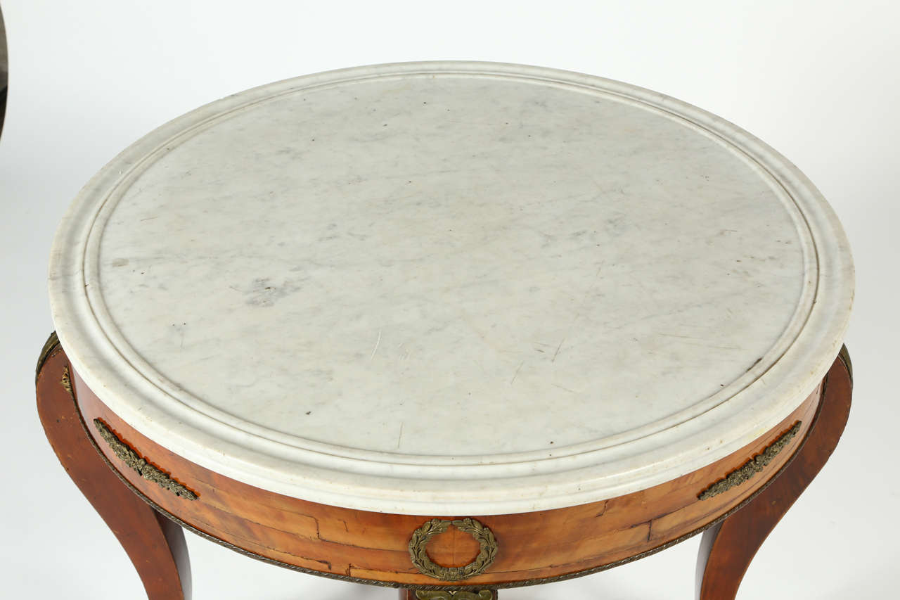 Veneer French Gueridon Table with a White Marble Top For Sale