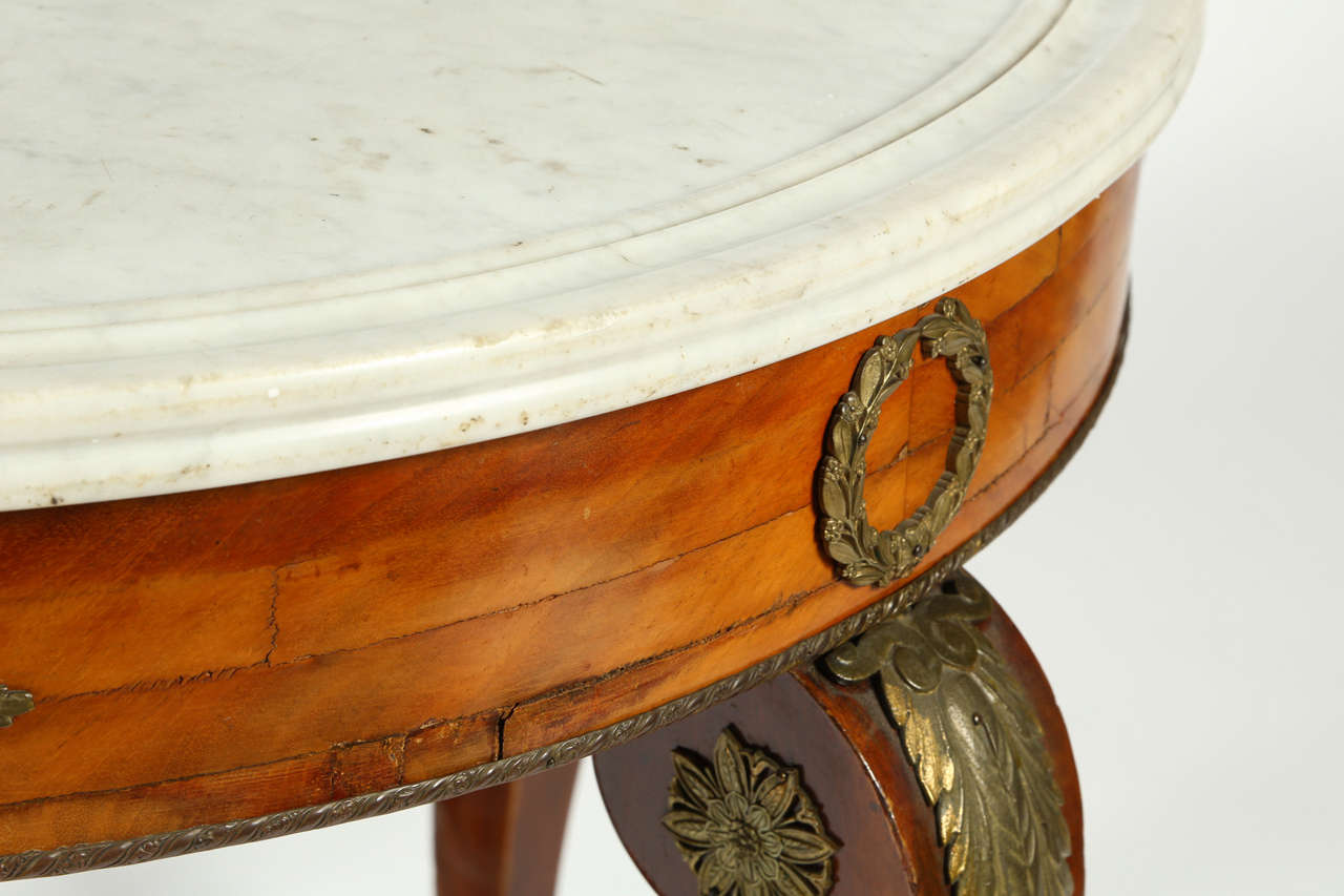 19th Century French Gueridon Table with a White Marble Top For Sale