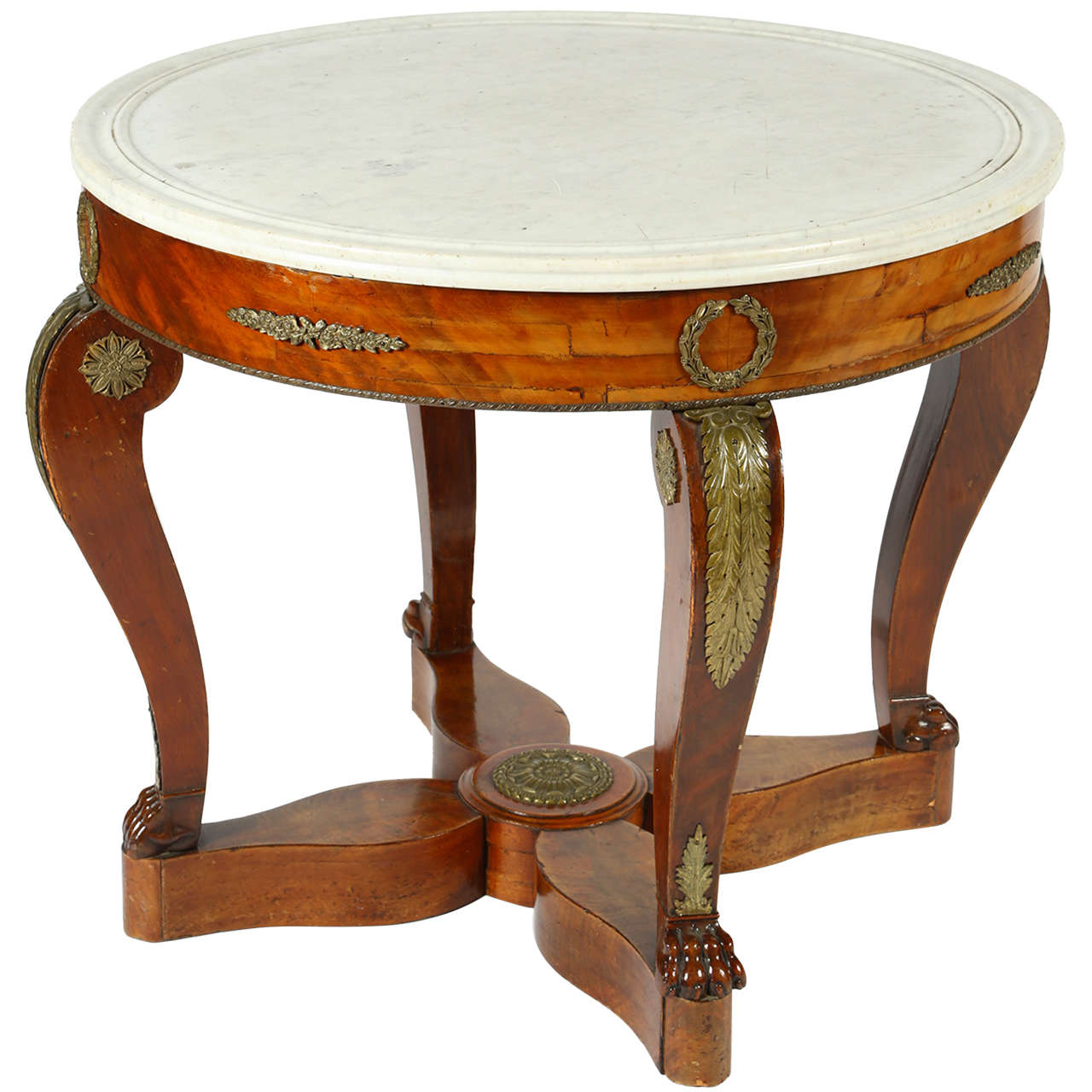 French Gueridon Table with a White Marble Top For Sale