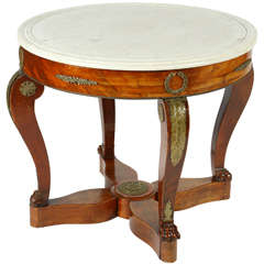 French Gueridon Table with a White Marble Top