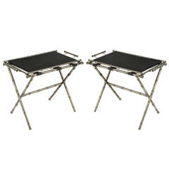 Pair of Hollywood Regency Silver-Plated Tea Tray Tables