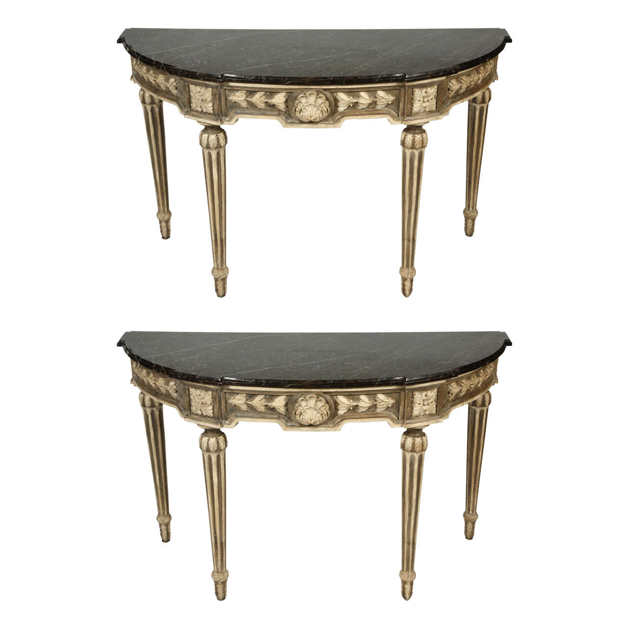 Pair of french louis xvi style demilune console tables with marble pair of french louis xvi style demilune console tables with marble tops 1 geotapseo Gallery