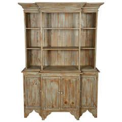 Whitewashed Wood Stepback Cupboard