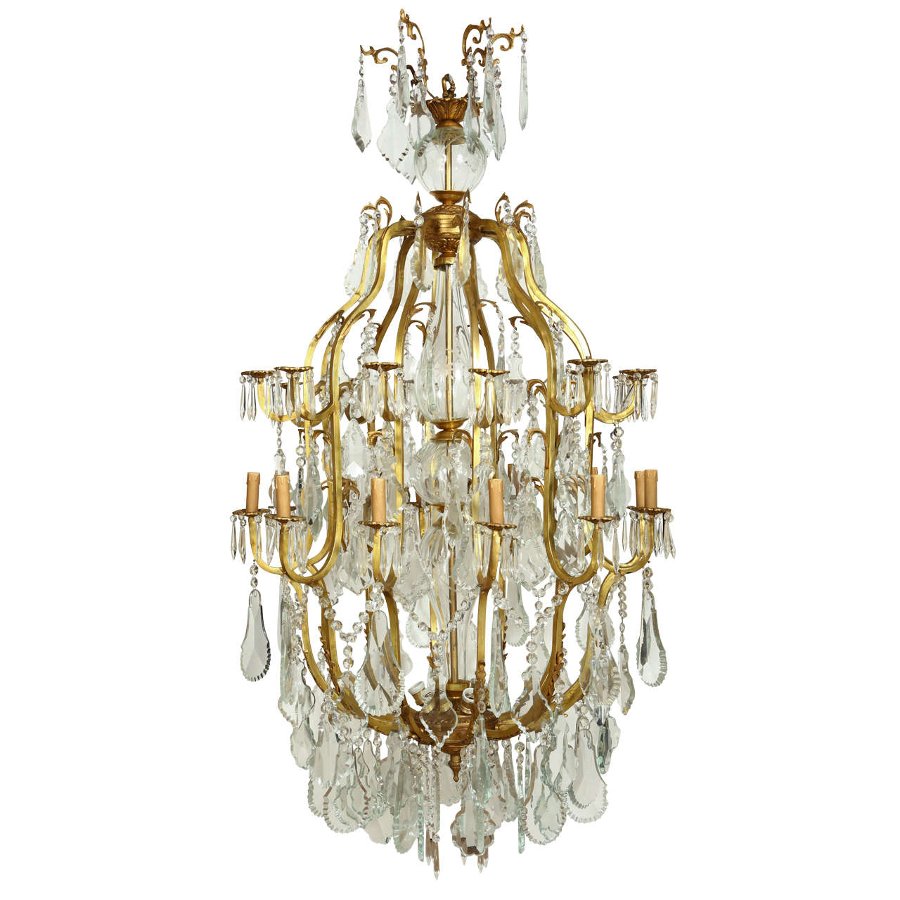 Huge Rococo Style Gilt Bronze And Glass Chandelier