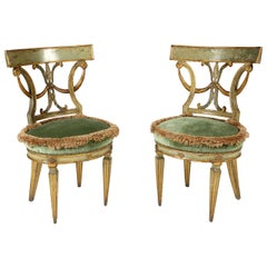 Pair of 18th Century Italian Neoclassical Style Paint Decorated Side Chairs