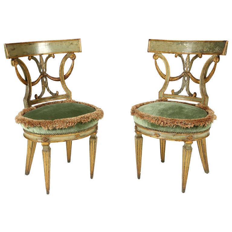 Pair Of 18th Century Italian Neoclical Style Paint Decorated Side Chairs